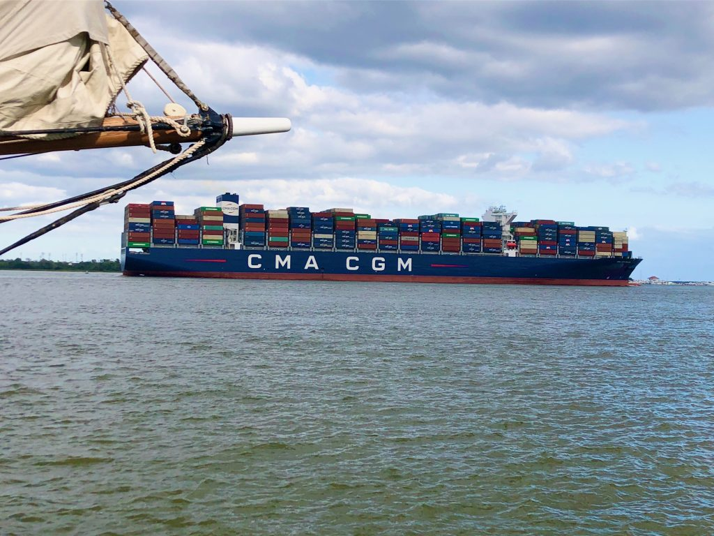 CMA CGM Brazil heading out to sea
